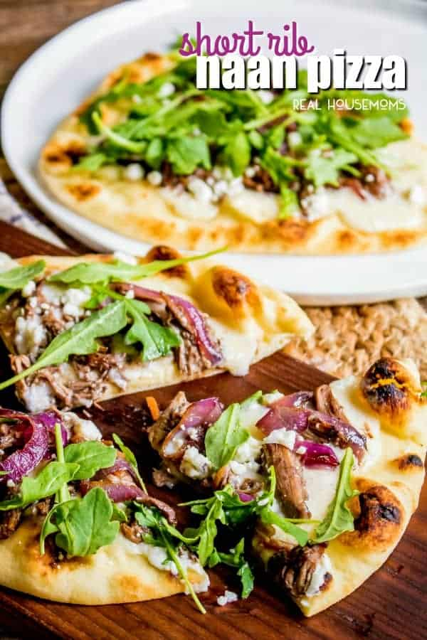 This Short Rib Naan Pizza is an easy dinner recipe made with tender beef short ribs, a creamy béchamel , and a crisp naan crust!