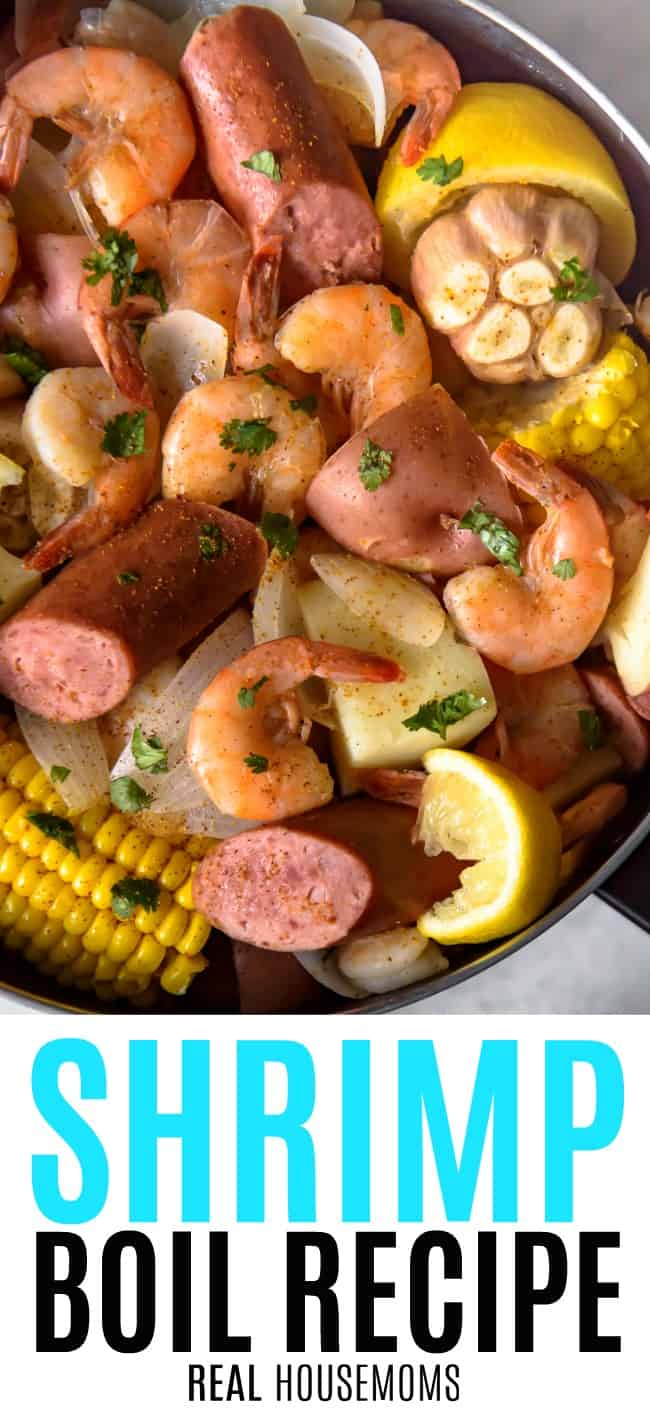 shrimp boil in a stock pot with ledge wedges and parsley