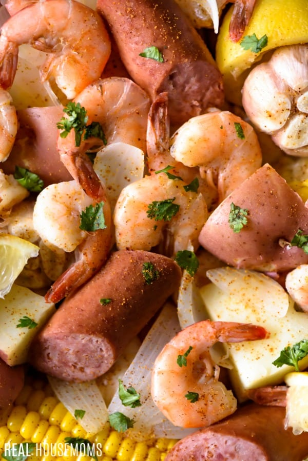 close up of shrimp boil after cooking