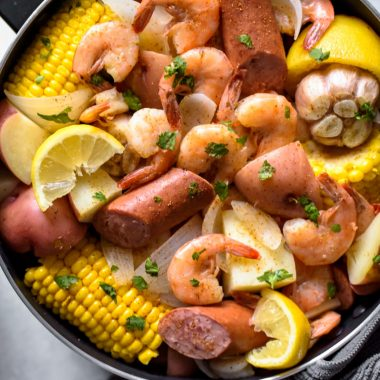 If you're looking for an easy meal to feed a crowd with, a low-country Shrimp Boil is it! Complete with shrimp, sausage, potatoes, and corn, it's a hearty one-pot feast that's ready in no time at all!