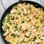 This 30-minute creamy SKILLET CHICKEN NOODLE CASSEROLE is the perfect lightened-up comfort food for busy weeknights! The whole family will love this easy, tasty dish!