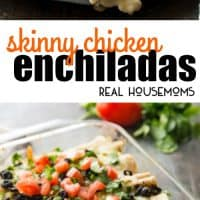 These Skinny Creamy Chicken Enchiladas are so full of flavor that no one will know that they're skinny! You can even make a double batch and freeze one for later. It's the perfect make-ahead family meal!