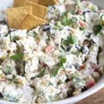 Skinny Veggie Dip is full of summer vegetables and so delicious! It's a perfect poolside snack for summer!