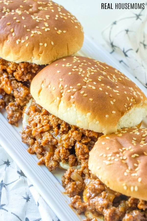 sercving platter of sloppy joe sandwiches