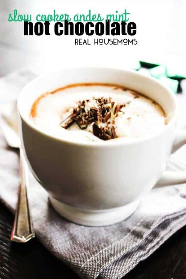 Slow Cooker Andes Mint Hot Chocolate is a decadently rich and creamy mint hot cocoa that is the perfect drink to sip by the Christmas tree this holiday season!