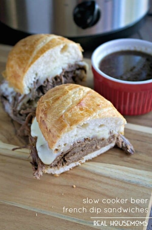 Slow Cooker Beer French Dip Sandwiches - Real Housemoms