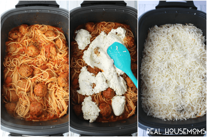 If your family loves spaghetti and meatballs, then you've gotta try this easy, slow cooker version! Loaded with Italian meatballs, ricotta and mozzarella cheeses, this easy SLOW COOKER CHEESY SPAGHETTI AND MEATBALLS recipe is a fantastic dinner option
