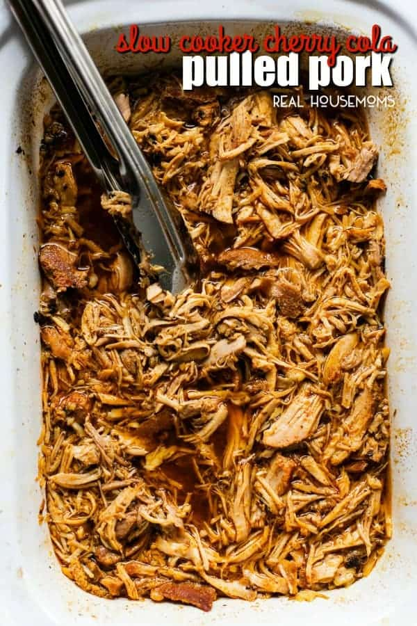 Juicy and tender Slow Cooker Cherry Cola Pulled Pork is the perfect set it and forget it Summer crockpot recipe. Serve over rice or on a bun topped with your favorite BBQ sauce!