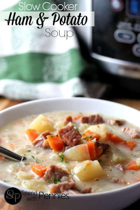 Slow Cooker Ham and Potato Soup - Spend with Pennies