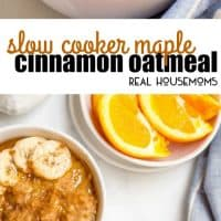 Slow Cooker Maple Cinnamon Oatmeal is perfect for busy mornings! Take a few minutes to prep the night before and a creamy, rich, flavorful oatmeal is waiting for you in the morning!