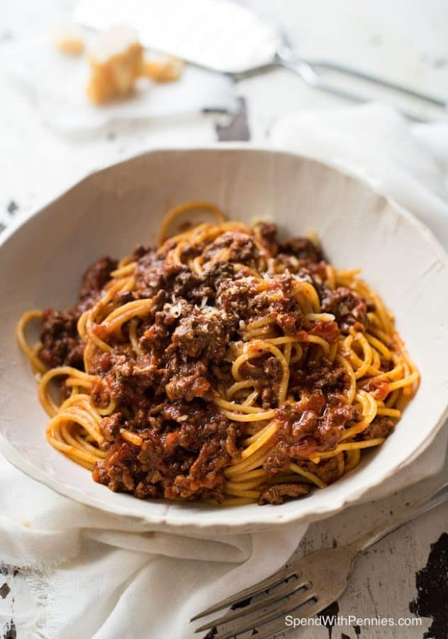 Slow Cooker Spaghetti Bolognese - Spend with Pennies
