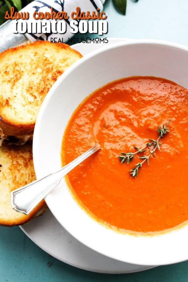 Slow Cooker Classic Tomato Soup a creamy, rich and vibrant soup. A traditional classic made easy in the slow cooker!