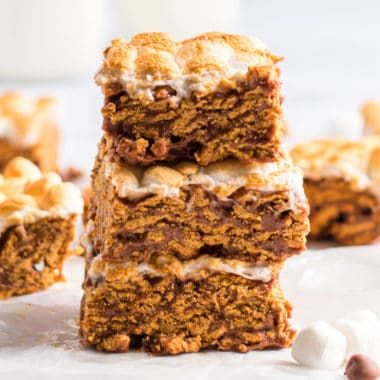 square image of s'mores cereal bars stacked up