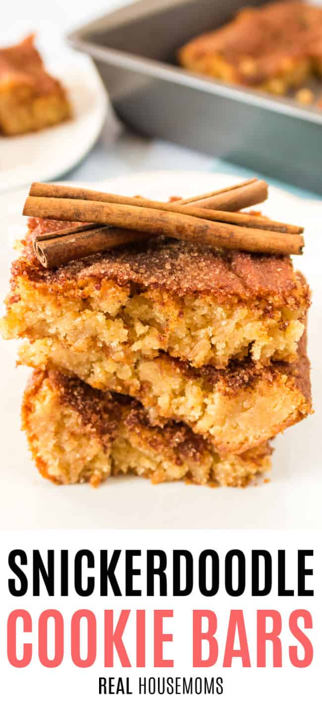 snickerdoodle cookie bars stacked up