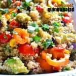 This SOUTHWEST QUINOA SALAD is loaded with fresh veggies and packed with southwest flavor. The perfect side for summer cookouts, potlucks, or weeknight dinners!