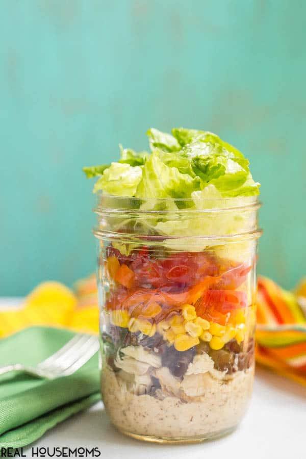 Southwestern mason jar salads