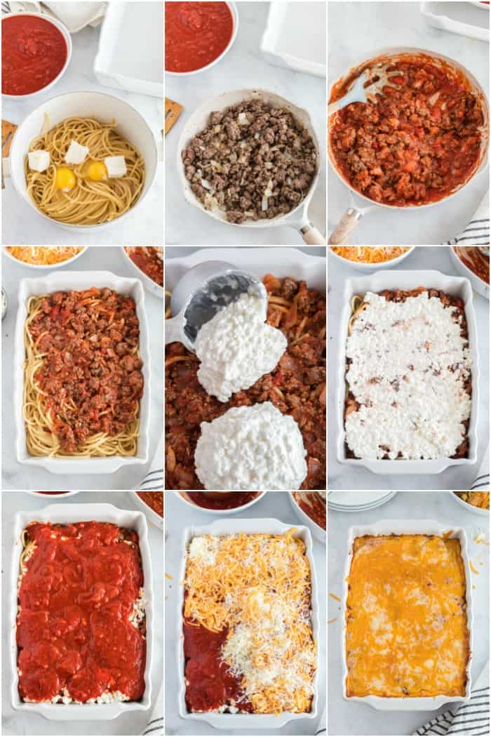 steps to make spaghetti casserole