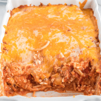 Comforting Spaghetti Casserole is a tried-and-true family favorite! Everyone loves this combination of creamy pasta, meaty sauce, and melty cheese!