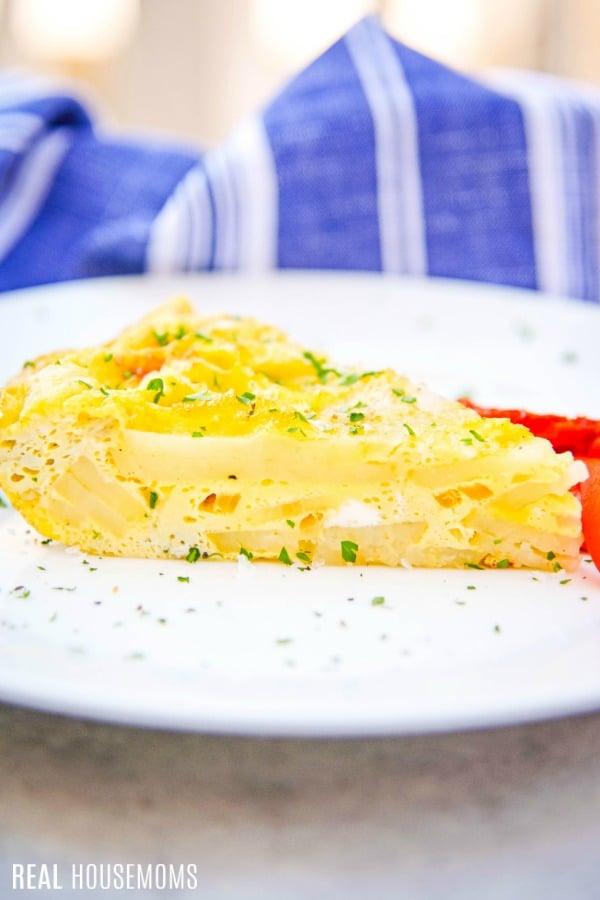 spanish tortilla slice on a plate