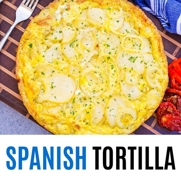 square spanish tortilla image with text