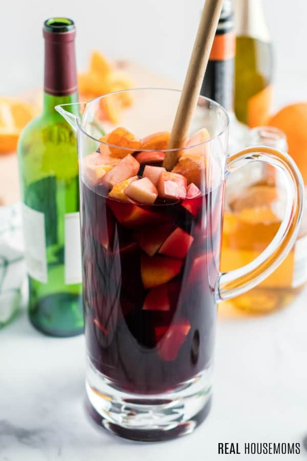 pitcher of red wine and fruit for sangria
