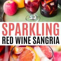 Collage of Sparkling Red wine. Top image os a glass and a pitcher with apple and orange near bottom image is a glass of sangria with fruit in side.