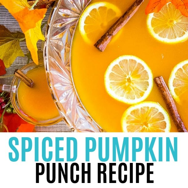 square image of spiced pumpkin punch with text