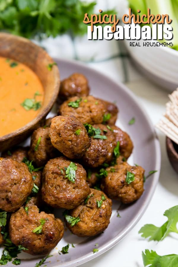 Spicy Chicken Meatballs with a honey glaze and Buffalo Ranch Dipping Sauce makes a great appetizer!These chicken meatballs are so good, youmight just make themyour main course!