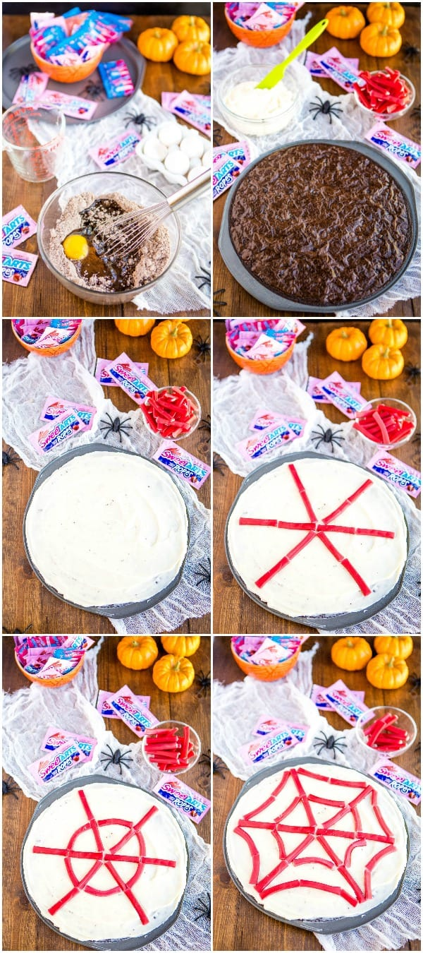 steps to make and decorate spider web brownie pizza