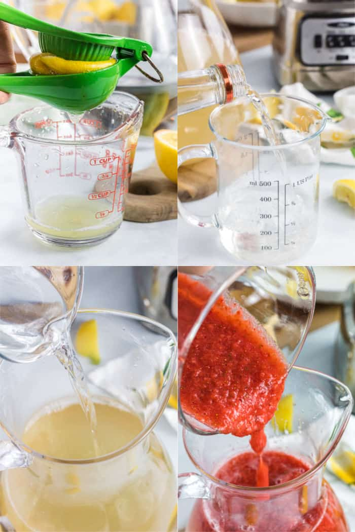 lemon being juiced into a measuring cup, vodka being poured into a measuring cup, simple syrup being poured into a pitcher, strwaberry puree being poured into a pitcher
