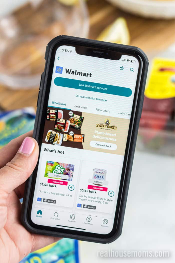 ibotta app on a smartphone open to the Walmart subpage