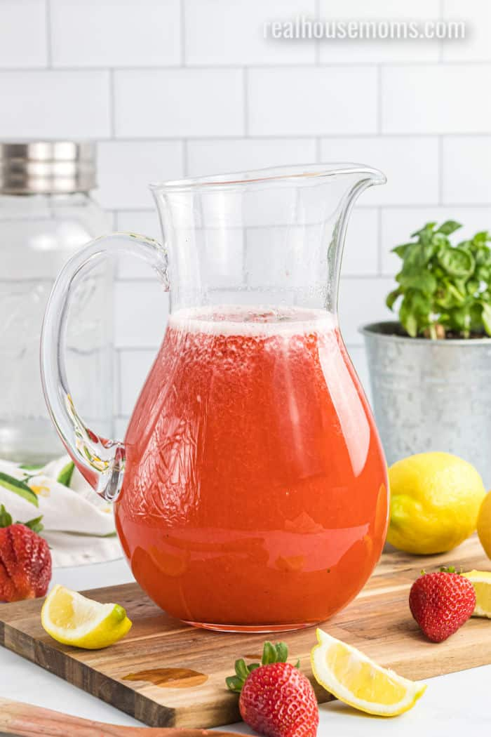 pitcher of strawberry lemonade with vodka