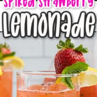 two images of spiked strawberry lemonade, top photo ingredients you need to make the lemonade, vodka, lemon strawberries, bottom photo close up of glass of spiked strawberry lemonade