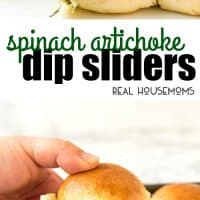 A total crowd pleaser! These Spinach Artichoke Dip Sliders are a great way to feed a crowd because you can make loads in one go. Warm and buttery, stuffed with Spinach Artichoke Dip and extra cheese.... I bet you can't stop at one!