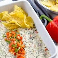 Spinach Bell Pepper Dip is a warm cheesy dip that tastes amazing! Garlic, cream cheese, sour cream and mozarella cheese make the best dip for parties!