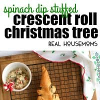 This festive, party-perfect, pull-apart Spinach Dip Stuffed Crescent Roll Christmas Tree is s fun way to serve up your favorite cheesy spinach dip round the holidays!