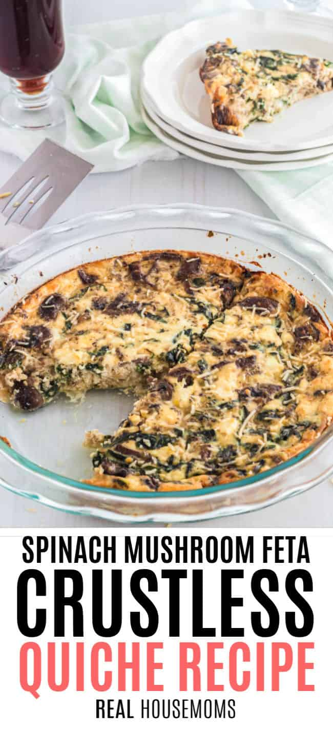 spinach mushroom feta crustless quiche with a slice taken out