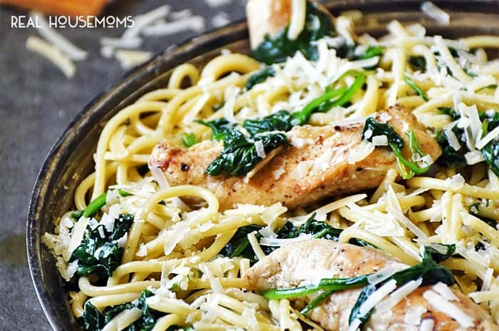 SPINACH PARMESAN PASTA WITH CHICKEN is an easy, 30-minute meal perfect for those nights when dinner sneaks up on you!