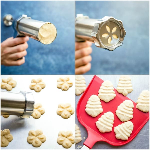 steps to make spritz cookies with cookie press