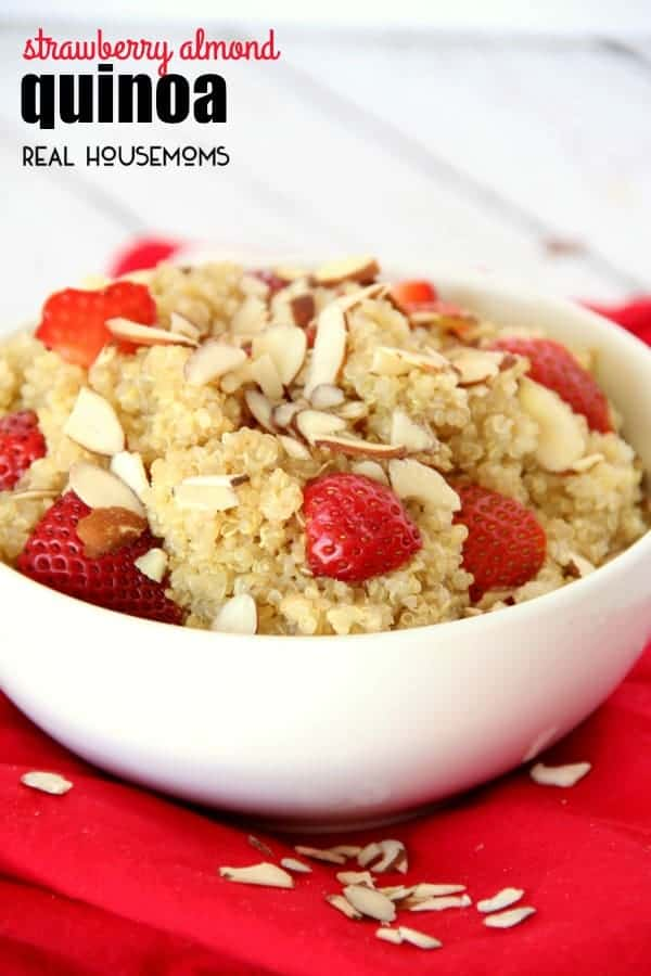 A chilled salad is the perfect side dish for a hot summer day. This STRAWBERRY ALMOND QUINOA is delicious and easy side dish to throw together for a picnic, party, or weeknight summer supper!