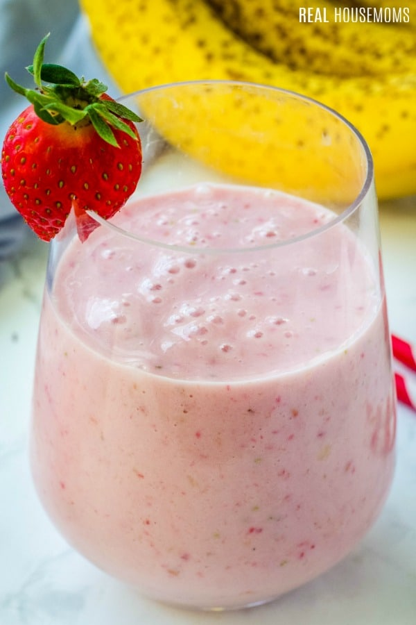 close up of strawberry banana smoothie in a glass