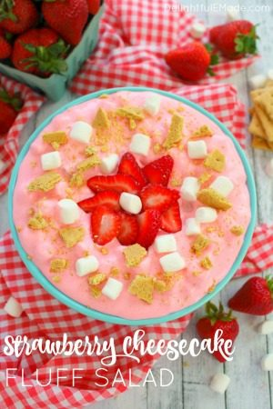 Strawberry Cheesecake Fluff Salad by Delightful E Made