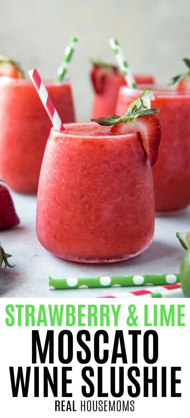 Strawberry & Lime Moscato Wine Shluies in stemless wine glasses
