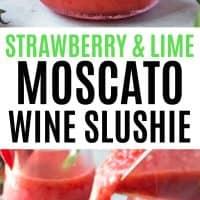glass of wine slushie being poured with strawberry garnish