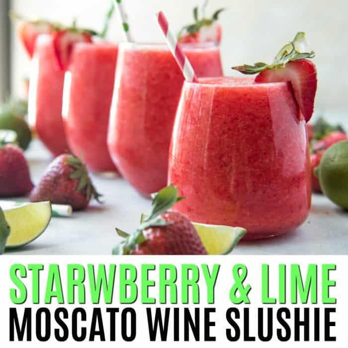 square image of strawberry & lime moscato wine slushie with text