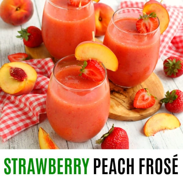 square image of Strawberry Peach Frosé with text
