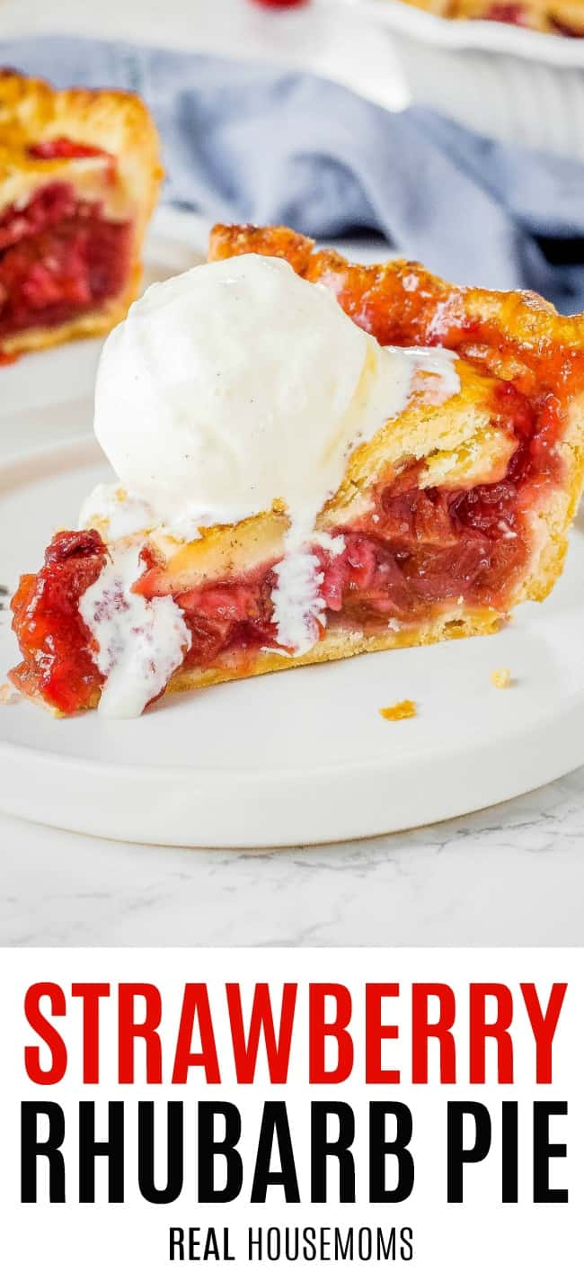 slice of strawberry rhubarb pie topped with ice cream