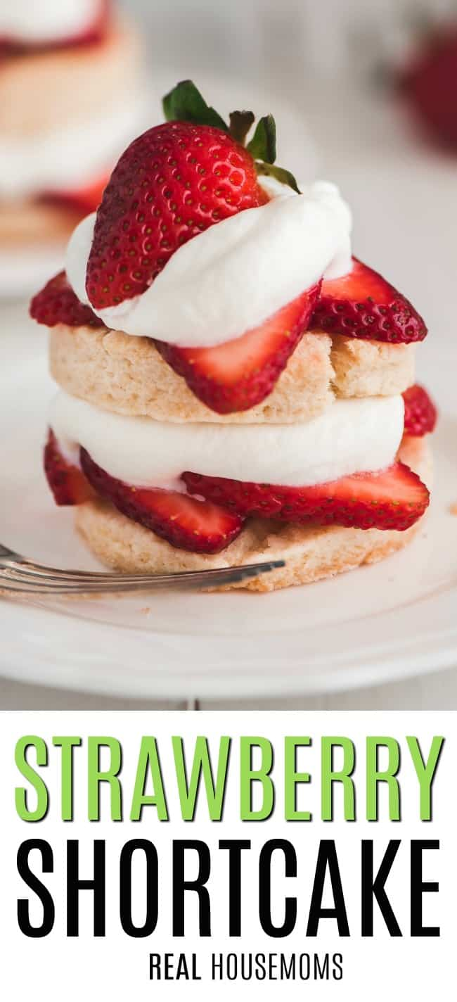 strawberry shortcake with layers of biscuit, whipped cream, and fresh strawberries
