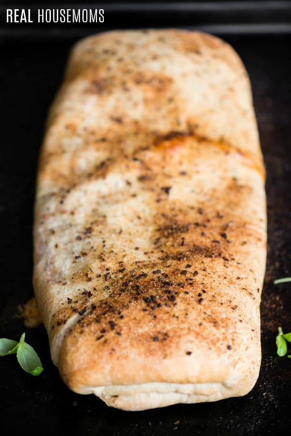 golden brown italian stromboli just after baking