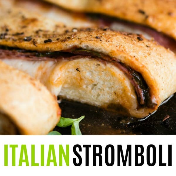 close up of Italian Stromboli slice with text